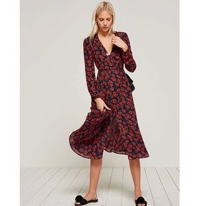 Reformation Rose Print Wrap Chelsea Dress